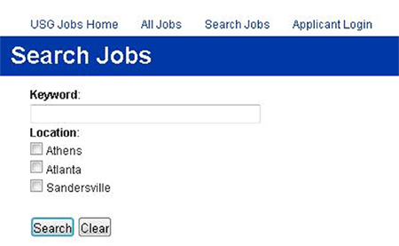 An example of the keyword and location features of the University System of Georgia's job application website, located at http://usg.hiretouch.com/.
