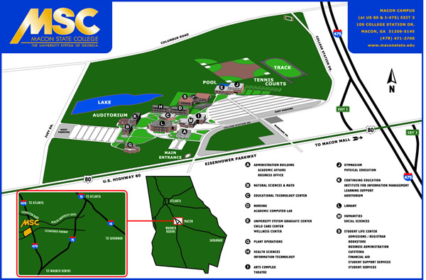 Macon State College Campus Map