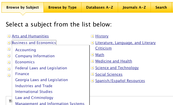 Subject Specific Categories